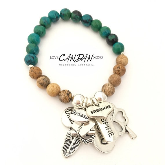 Graduation School Graduate Student Inspire Success Luck Clover Dream  Friendship Charm Gemstones Bracelet Gift