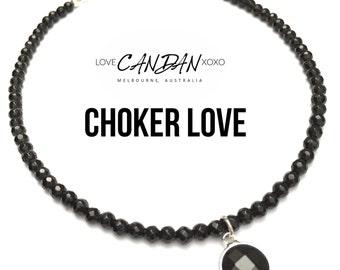 Womans Bohemian beaded Style Black Onyx Choker crystal pendant Necklace