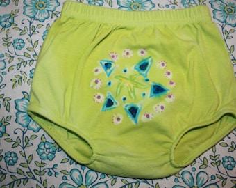Green Batik Diaper Cover Floral