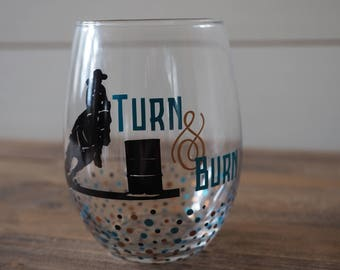 Barrel Racing Wine Glass