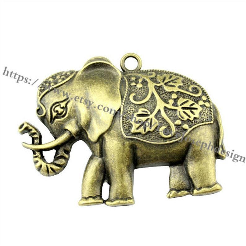 wholesale 10 Pieces Lot Antique Bronze Plated 74mmx50mm elephant Charms