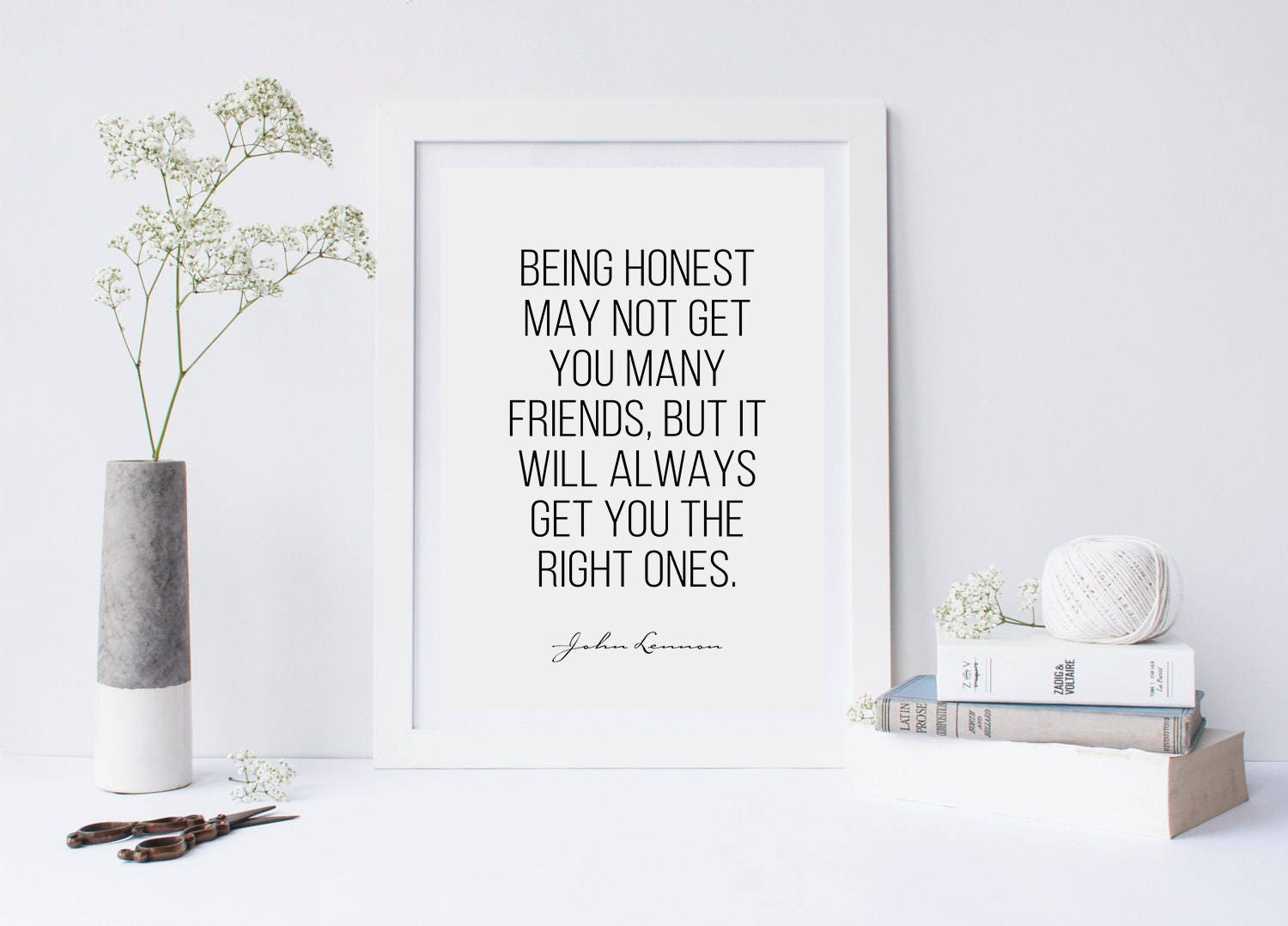 Being Honest Poster John Lennon Quotes Typography Quotes Etsy