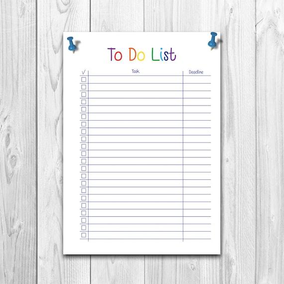 Homework List Deadline Planner To Do List Printable To Do Etsy