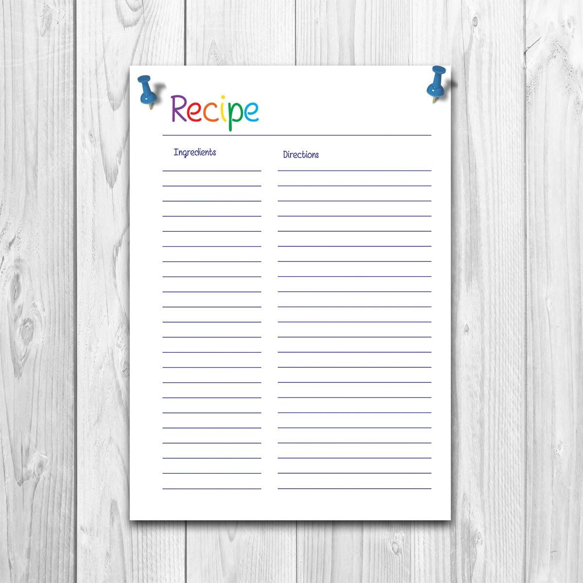recipe pages recipe sheet print recipe journal recipe etsy