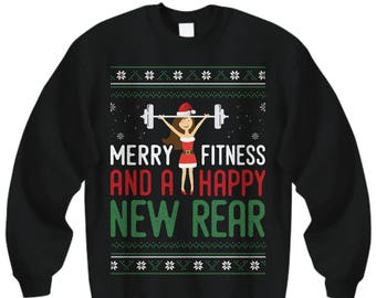 7cd08e55 Merry Fitness Happy New Rear, Fitness Ugly Sweater, Christmas Sweater,  Fitness Gifts, Tacky Christmas, Fitness Funny, Christmas Party