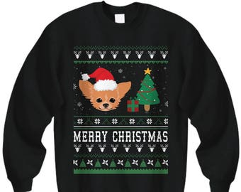 Long Haired Chihuahua Christmas , Chihuahua Gift, Chihuahua Sweatshirt, Chihuahua tshirt,  Chihuahua Christmas Sweater, Chihuahua Lover