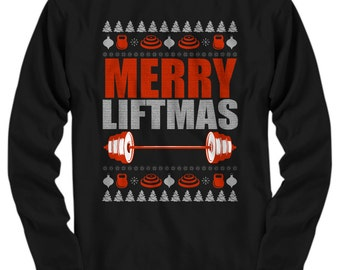 ddeb3cf5 Merry Liftmas, Fitness Shirt, Fitness Gift, Ugly Sweater, Fitness Ugly  Christmas Sweater