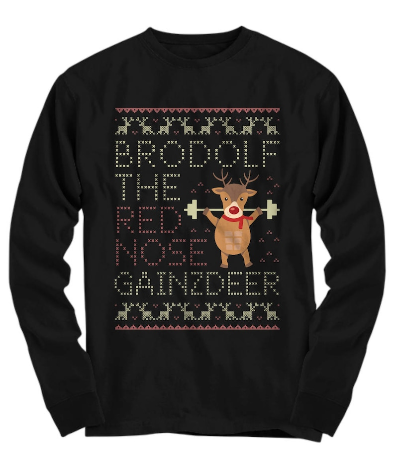 2c76cadadef6 Brodolf the Gainzdeer Fitness Ugly Sweater Christmas | Etsy