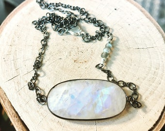 Moonstone and Gunmetal Necklace