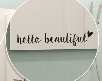 """Black vinyl sticker """"hello beautiful"""" with a small heart, cut, decoration, mirror, frame, beauty, sticker to place where you want"""
