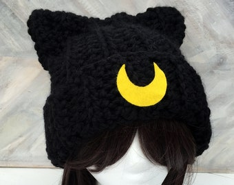 f25f47afe2f Crochet Luna Kitty Cat Hat - Luna and Artemis - Sailor Moon Theme Crochet  Hat