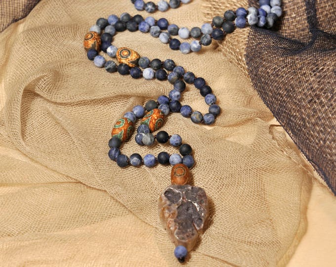 Sodalite Necklace Mala Boho Style. Yoga. Meditation. Ideas for her. Boho Jewelry. Bohemian Necklace. Tassel Necklace