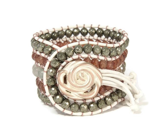 Boho Hippolyte * 5 strand Statement Wrap Bracelet. Boho Style. Bohemian Jewelry. Semiprecious stones. Gift for her. Unique Design.