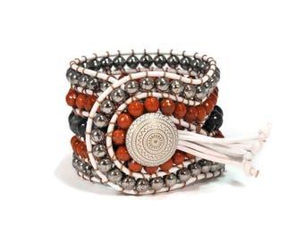 Boho Shakira * 5 strand Statement Bracelet. Boho Style. Bohemian Jewelry. Semiprecious stones. Gift for her. Unique Design.