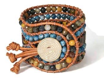 Boho Ramsey * 5 strand Statement Wrap Bracelet. Boho Style. Bohemian Jewelry. Semiprecious stones. Gift for her. Unique Design.