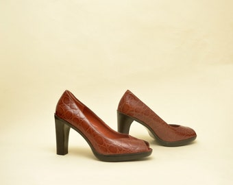 e962ee03bd6174 Ungemußene Vintage-90er-Jahre-Lederheels geprägten Croc Peep Toe Klassiker  der 90er-Jahre minimalistische 90er-Jahre neun 9 West 8m