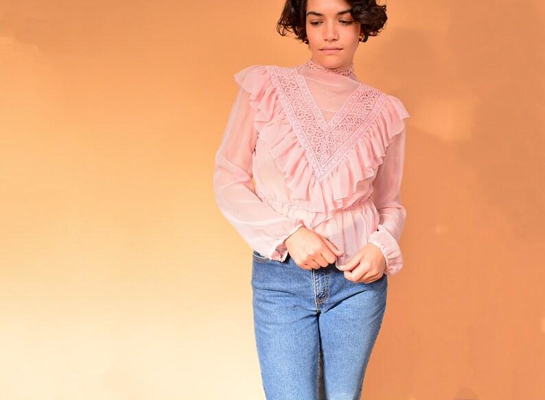 cb3bbb4bfb5 Vintage 70s pink sheer blouse 1980s sheer victorian ruffles