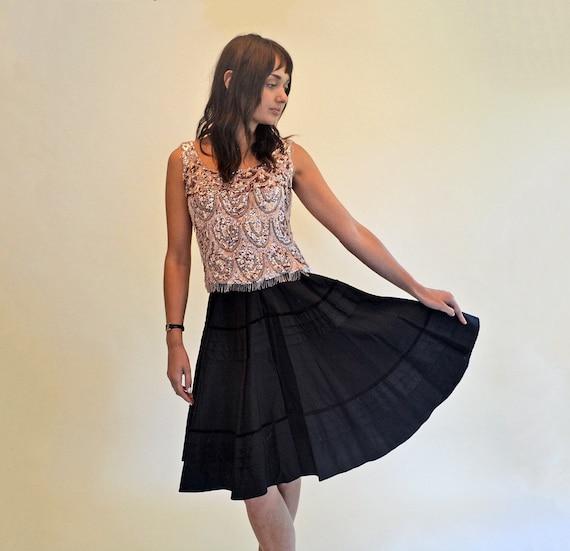vintage 50s black skirt full circle swing 1950s hi