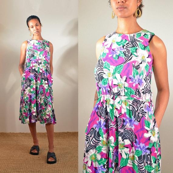 90s Tribal Print Dress US 12 1990s