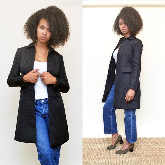 vintage 90s black coat minimalist 1990s jacket tex