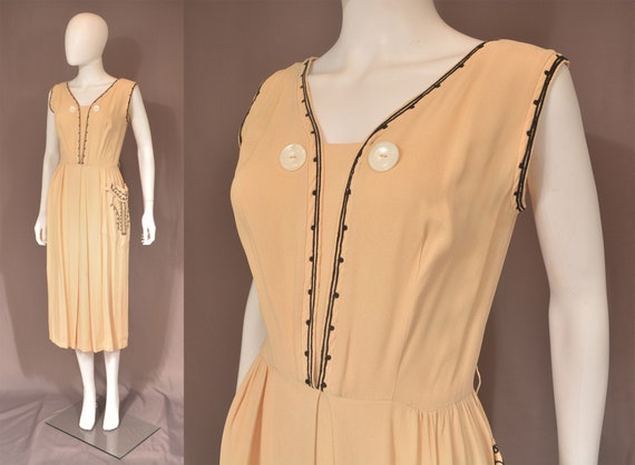 vintage 50s day dress 1950s blush pink embroidered
