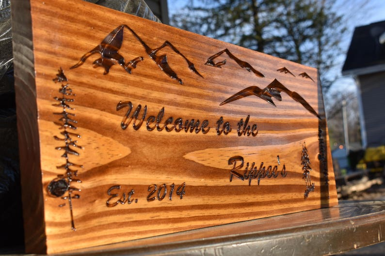 Welcome Cabin Signs backyard decor family name Wood sign yard art Wooden sign Garden decor deck signs, Home  Art Personalized sign