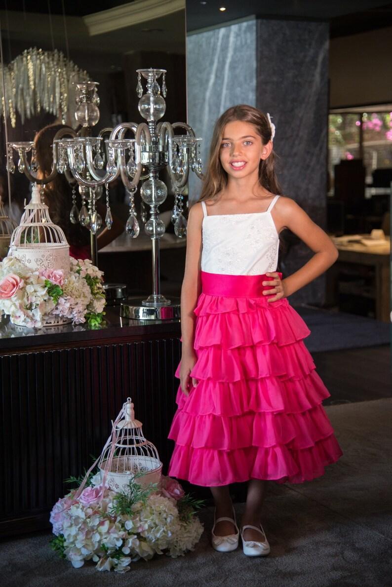 Ruffled Flower Girl Dresses Fuschia