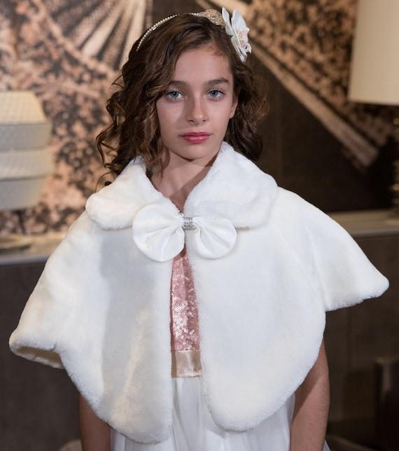 Faux Fur Coat Kids Fake Fur Ivory Fur Coat Ivory Fur Coat for Girls Girls Accessories Fur Bolero Fake Fur Fur Coat Fur Long Sleeves