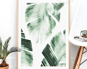 Banana Leaves Print Tropical Wall Art Modern Home Decor Printable Greenery