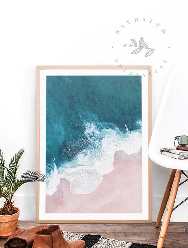 Aerial Beach Print Pink Beach Print Aerial Beach image 0