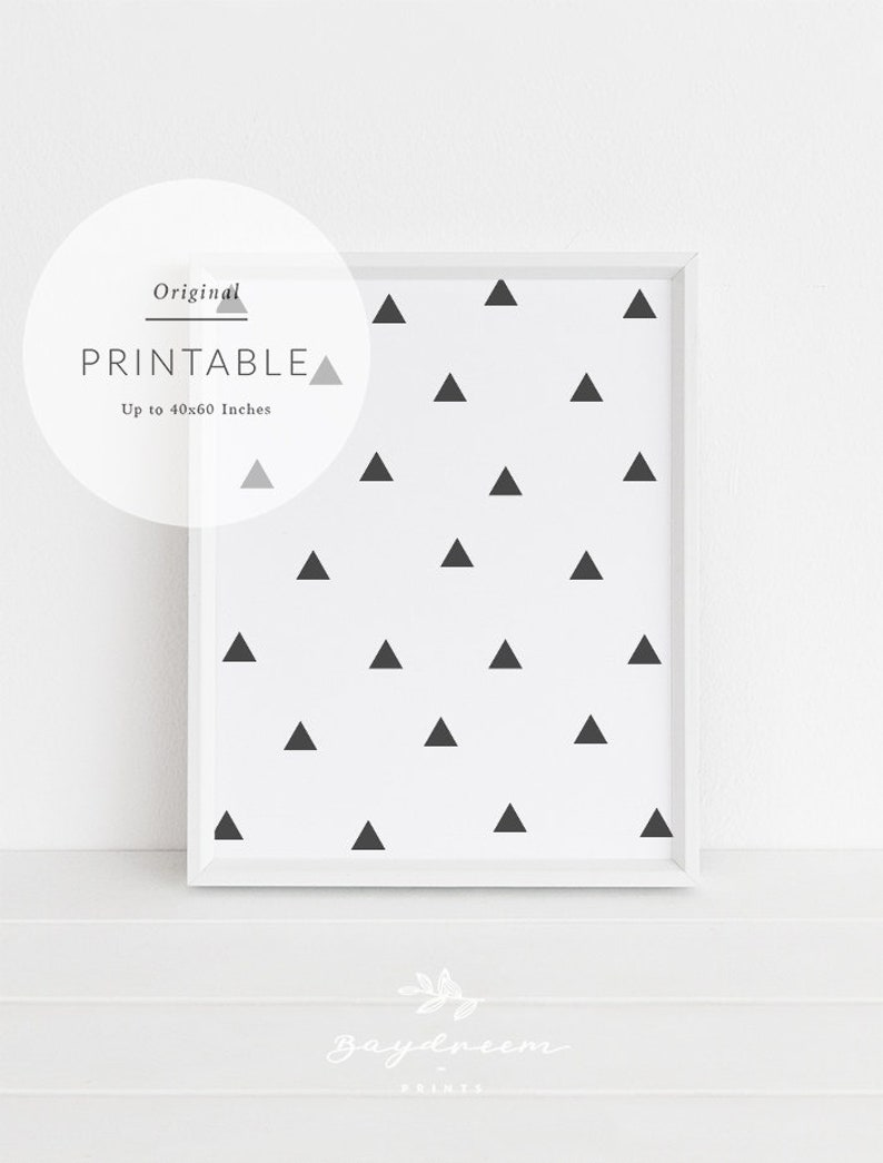 photograph relating to Triangle Printable titled Triangle Wall Decor, Black and White Young children Triangle Artwork Print, Nursery Prints Triangles Scandi Youngsters Prints, Black Triangle Printable Artwork Small children