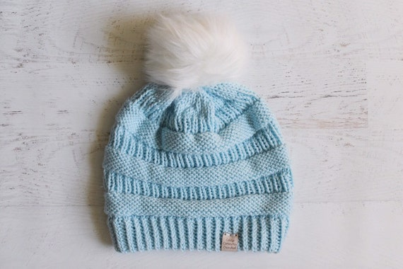 e453bf08119 Knitted Slouchy Hat    Double Brim Knit Hat    Blue Knitted
