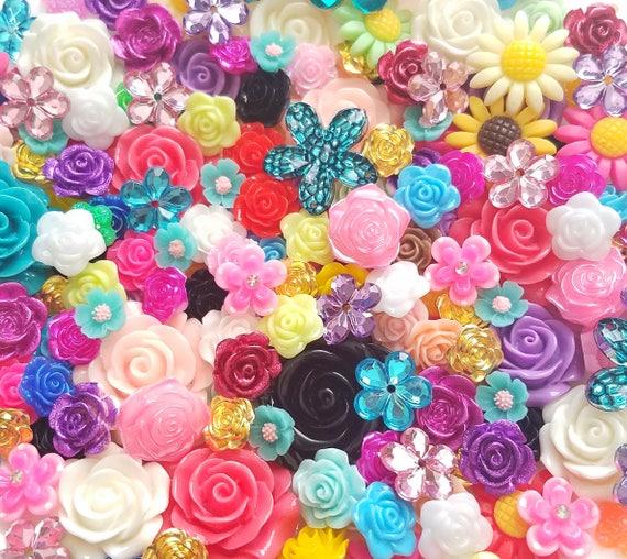 2pcs Large Floral Cameo Resin Flatback Cabochons Embellishment Decoden Craft
