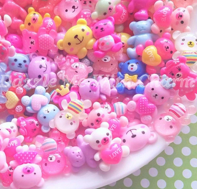 buy popular 69451 64e9a Bear or bunny cabochons mix DIY decoden phone case craft resin flatback  decoration embellishment jewelry supply hair accessories *5pcs*