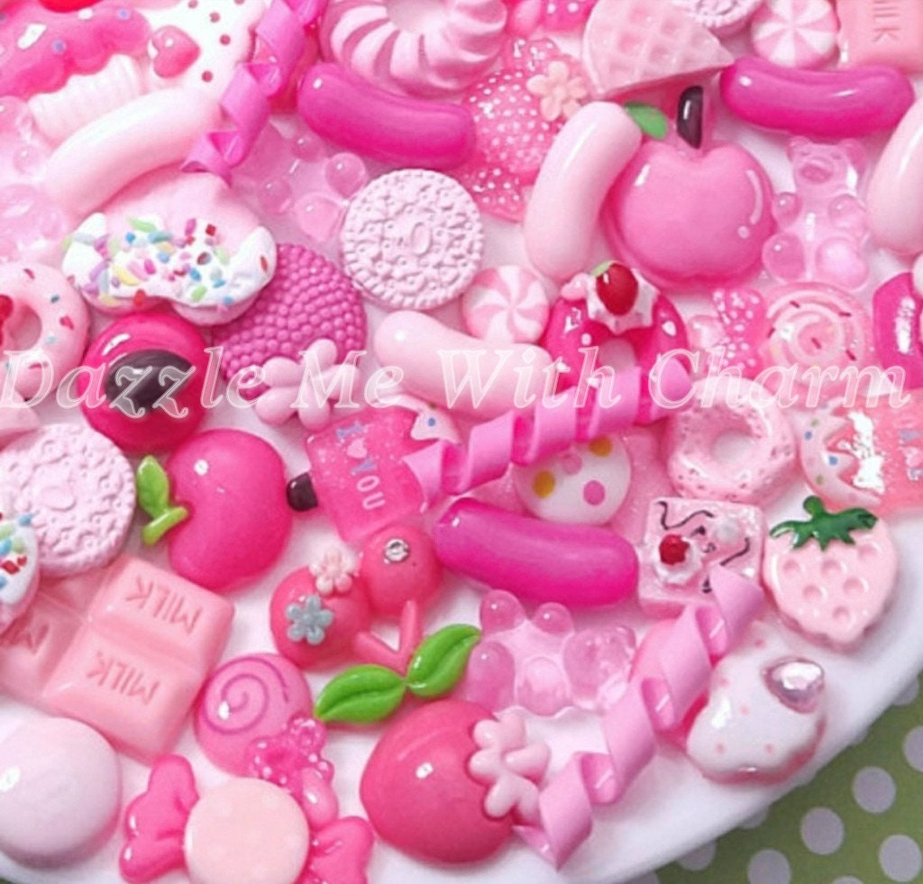 30 Pink Stars Flatbacks Cabochons Decoden Kawaii