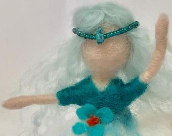 Needle Felted Aqua Ballerina