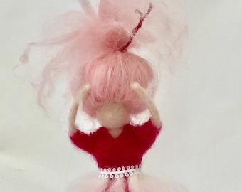 Needle Felted Pink Ballerina soft sculpture