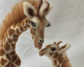 Needle Felted Giraffe Mom & Baby wool sculpture