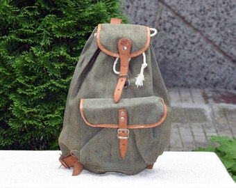 0f0ae8f4b Vintage canvas rucksack, Small military backpack, Old kids backpack, Canvas  backpack, Boy scout green rucksack, Vintage haversack, Gift idea
