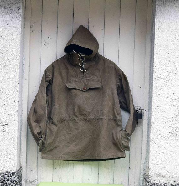 Canvas anorak, Vintage anorak, Green canvas jacket
