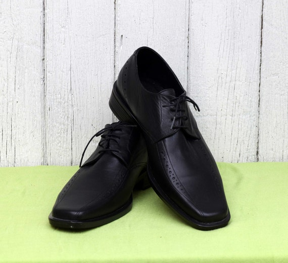 Elegant men's shoes, Vintage leather shoes, Black… - image 3