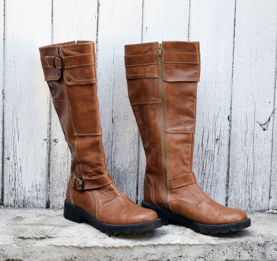 Women's leather boots, Winter Boots, Vintage leath