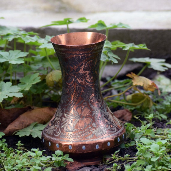 Vintage Copper Vase Whit Ornaments Vintage Copper Vase Etsy