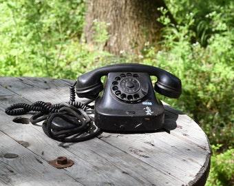 Vintage phone, Black bakelite phone, Black rotary phone, Dial phone from 60's, Old dial desk phone, Retro phone, Office decor