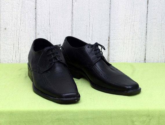 Elegant men's shoes, Vintage leather shoes, Black… - image 2