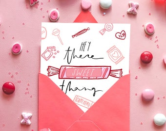 Sweet Thang - Valentines Card - Cute Anniversary Card - Cute Love Card - Card for Her - Card for Him