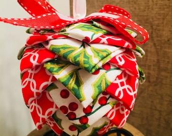 Christmas ornament, fabric ornament, pine cone ornament
