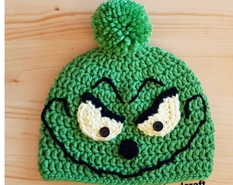 fe0bf34219c Grinch inspired Handmade Crochet Knit Beanie Hat from Newborn to Adults