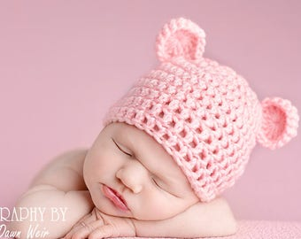 c20ea4427bd Bear Handmade Crochet Knit Animal Beanie Hat With Ears Team Colors from  Newborn to Adult