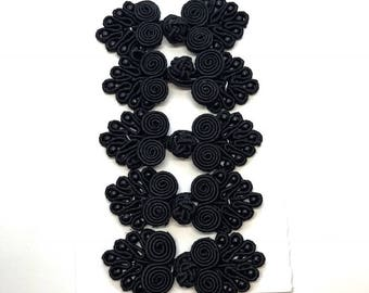 Buttons FEIlei 10 Pairs Chinese Frog Closure Buttons Flower Knot Fastener Sewing Handmade Craft-Black